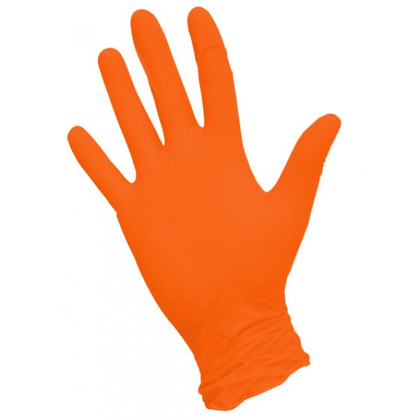 Перчатки нитриловые  текстурированные оранжевые NitriMax